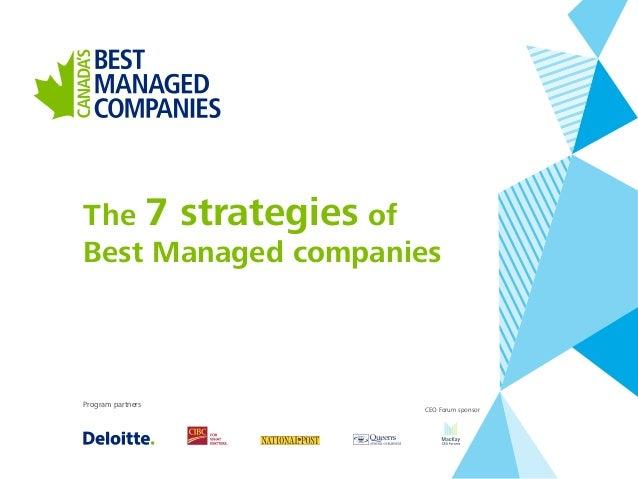 The 7 strategies of Best Managed companies Program partners CEO Forum sponsor