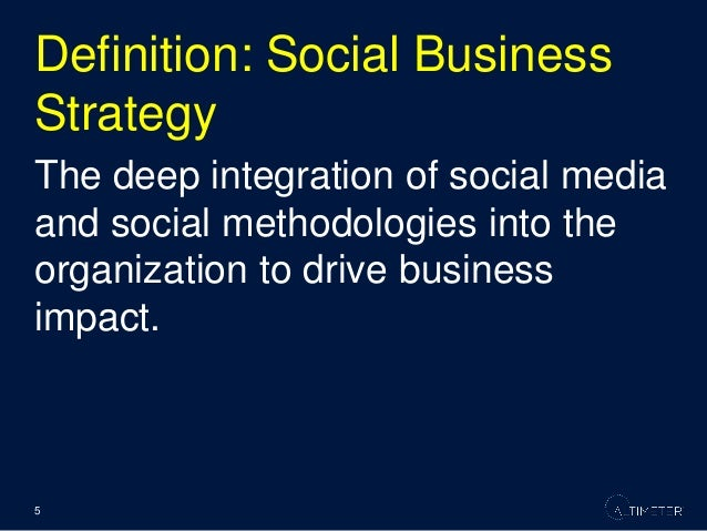 A successful social business strategy requires alignment with the strategic business goals of an organization and organiza...