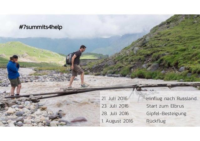 6 21. Juli 2016 Hinflug nach Russland 23. Juli 2016 Start zum Elbrus 28. Juli 2016 Gipfel-Besteigung 1. August 2016 Rückfl...