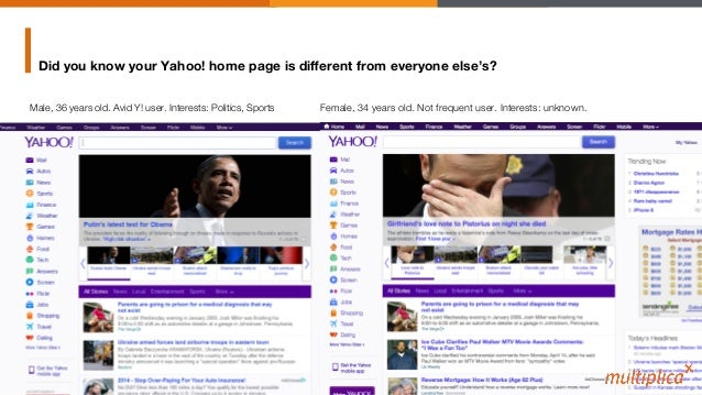 Did you know your Yahoo! home page is different from everyone else's? Male, 36 years old. Avid Y! user. Interests: Politics...
