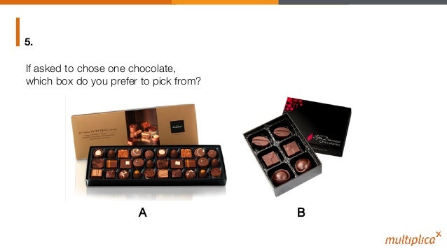 """If asked to chose one chocolate, """" which box do you prefer to pick from? 5. A! B!"""
