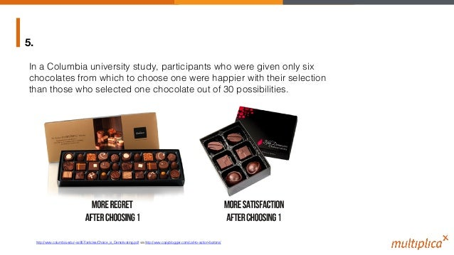 5. In a Columbia university study, participants who were given only six chocolates from which to choose one were happier w...