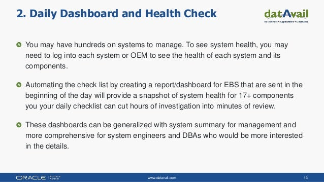 www.datavail.com 13 You may have hundreds on systems to manage. To see system health, you may need to log into each system...