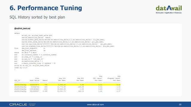 www.datavail.com 35 SQL History sorted by best plan 6. Performance Tuning