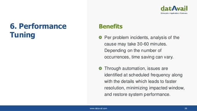 www.datavail.com 36 6. Performance Tuning Per problem incidents, analysis of the cause may take 30-60 minutes. Depending o...