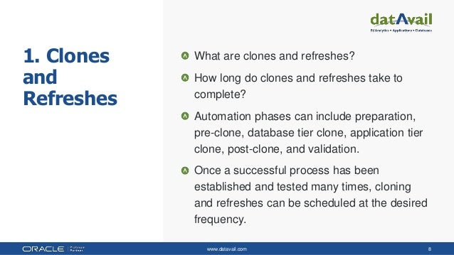 www.datavail.com 8 1. Clones and Refreshes What are clones and refreshes? How long do clones and refreshes take to complet...