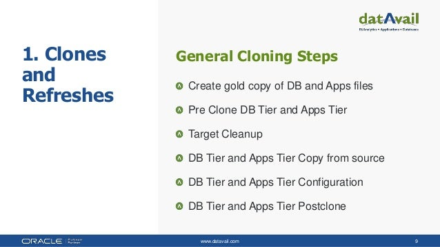 www.datavail.com 9 1. Clones and Refreshes General Cloning Steps Create gold copy of DB and Apps files Pre Clone DB Tier a...
