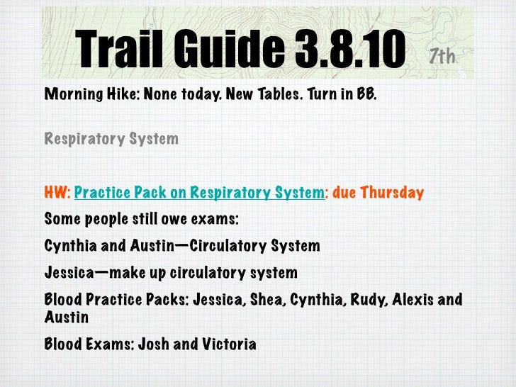 Trail Guide 3.8.10                                  7th Morning Hike: None today. New Tables. Turn in BB.  Respiratory Sys...