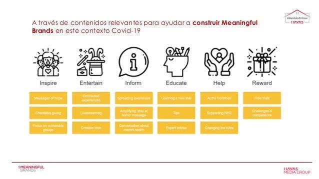 A través de contenidos relevantes para ayudar a construir Meaningful Brands en este contexto Covid-19