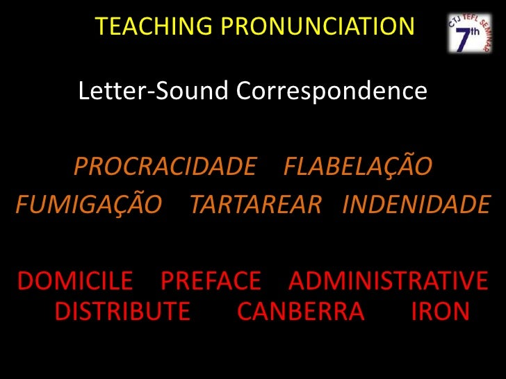 TEACHINGPRONUNCIATION<br />Letter-SoundCorrespondence<br />PROCRACIDADEFLABELAÇÃO<br />FUMIGAÇÃO    TARTAREAR   INDENIDADE...