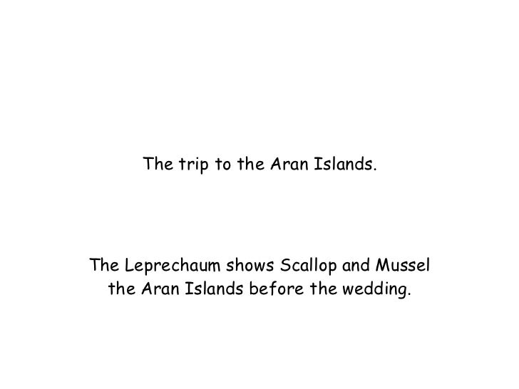 The trip to the Aran Islands. The Leprechaum shows Scallop and Mussel the Aran Islands before the wedding.