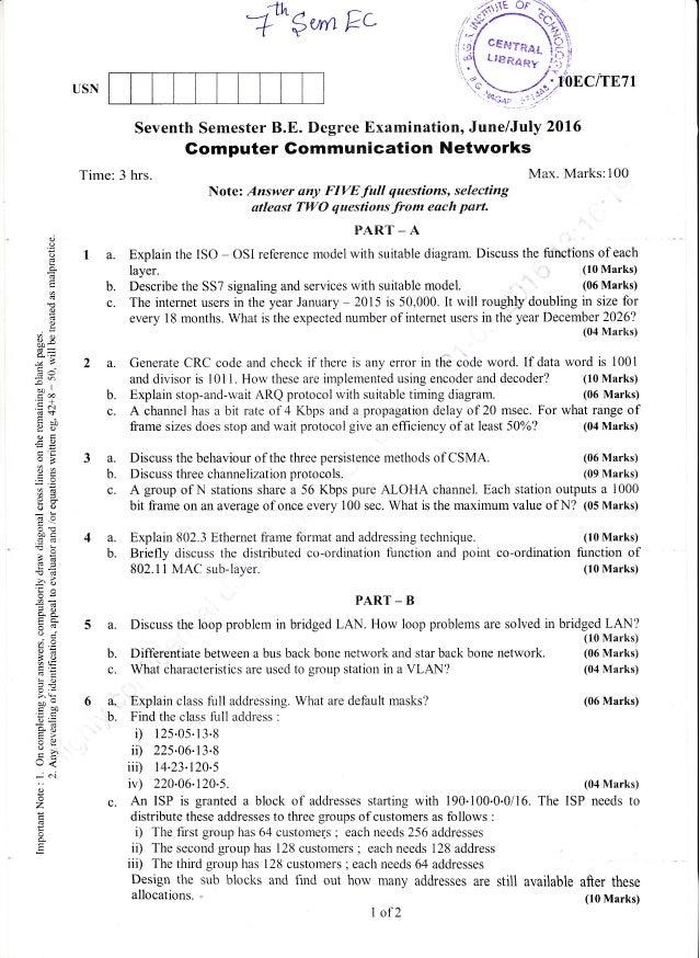 "-rtn ^ r_. A""""$urnkc Seventh Semester B.E. Degree Examination, June/July 2016 Gomputer Gommunication Networks Time: 3 hrs...."