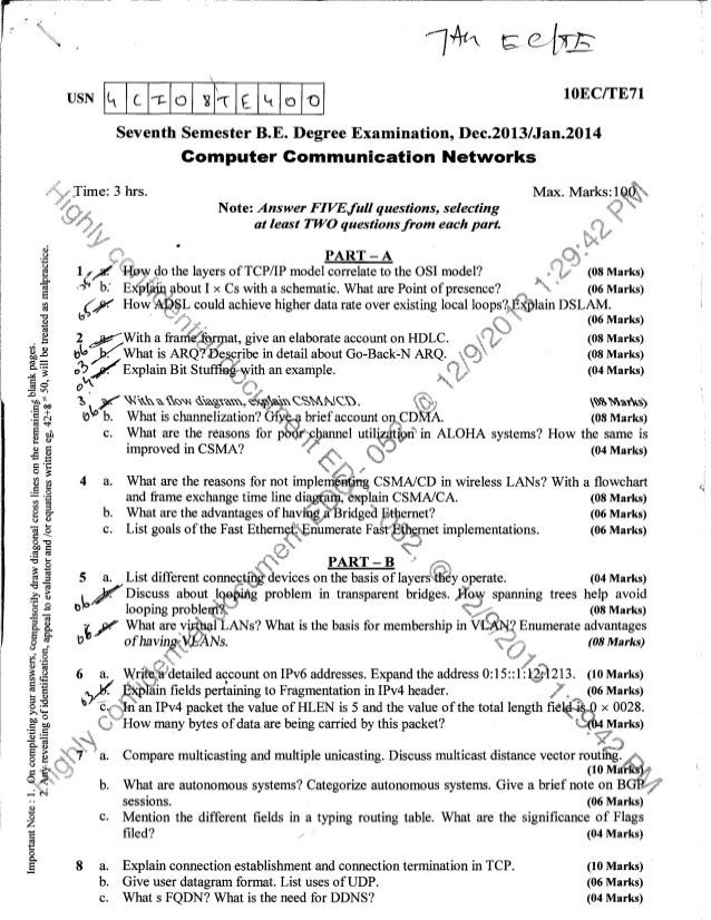 7th ec & te question papers december 2013