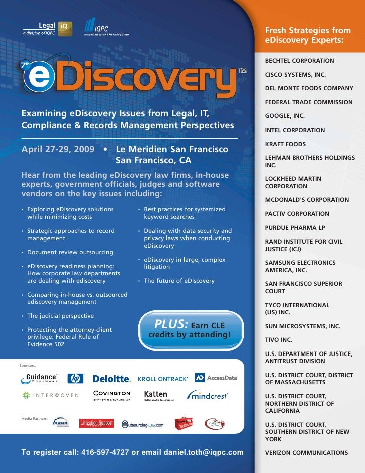 Fresh Strategies from                                                                              eDiscovery Experts:    ...