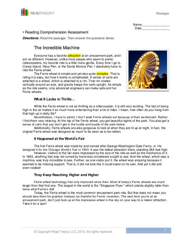 Printables Read Theory Llc 7 the incredible machine free sample 2 readtheory passage copyright read theory llc