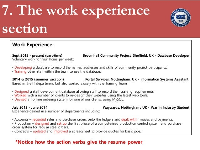 7 the work experience section