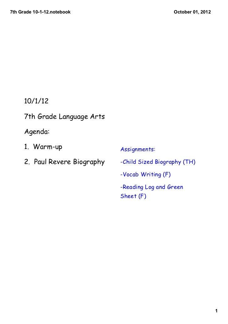 7thGrade10112.notebook                            October01,2012      10/1/12      7th Grade Language Arts      Agen...
