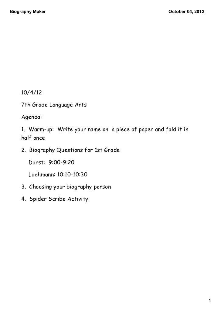 BiographyMaker                                           October04,2012    10/4/12    7th Grade Language Arts    Agenda...
