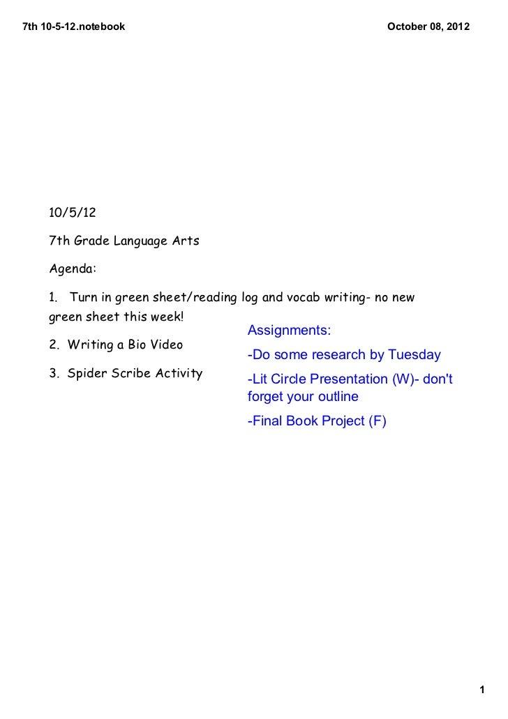 7th10512.notebook                                           October08,2012     10/5/12     7th Grade Language Arts   ...