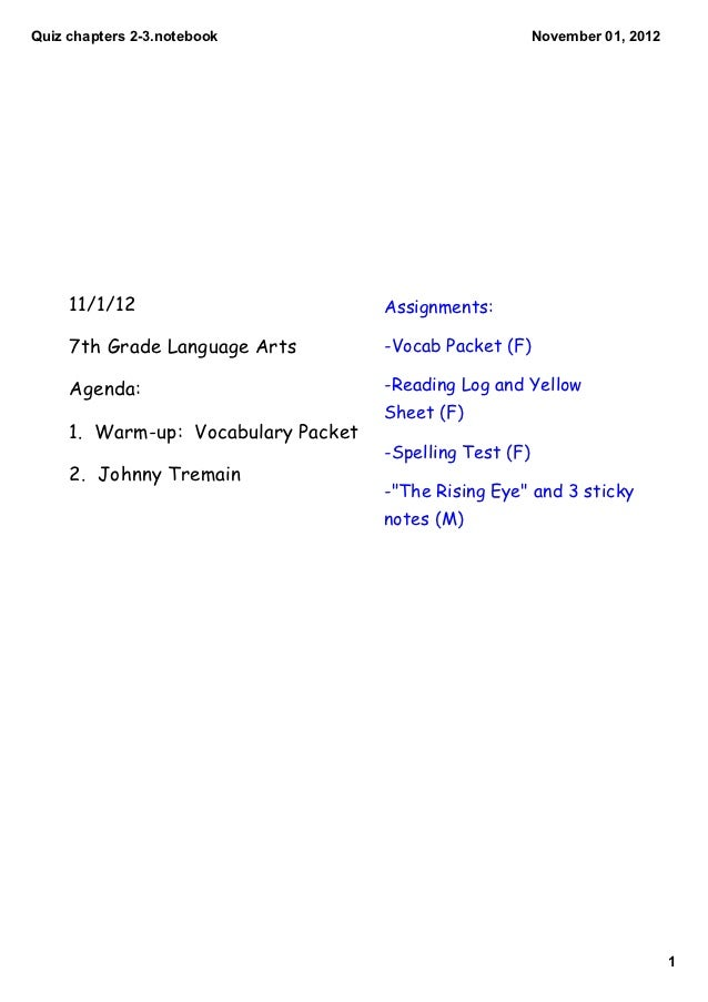 Quiz chapters 2­3.notebook                                November 01, 2012     11/1/12                         Assignment...