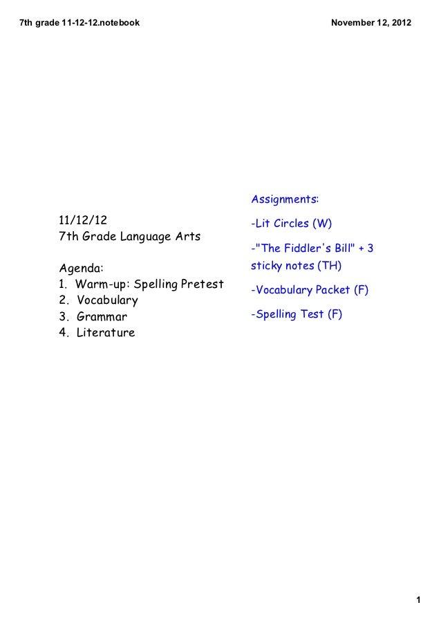 7thgrade111212.notebook                            November12,2012                                       Assignments...