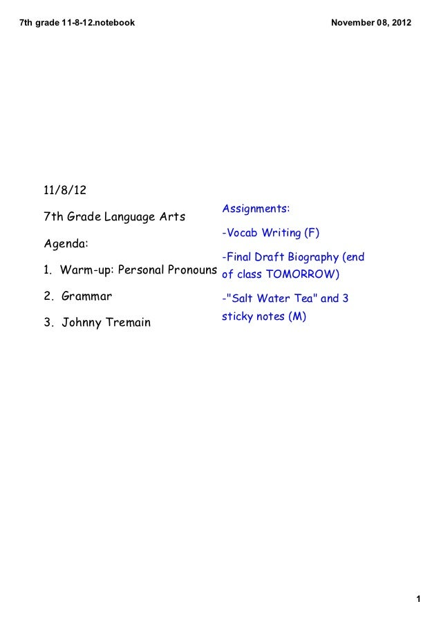 7thgrade11812.notebook                            November08,2012     11/8/12                                 Assign...
