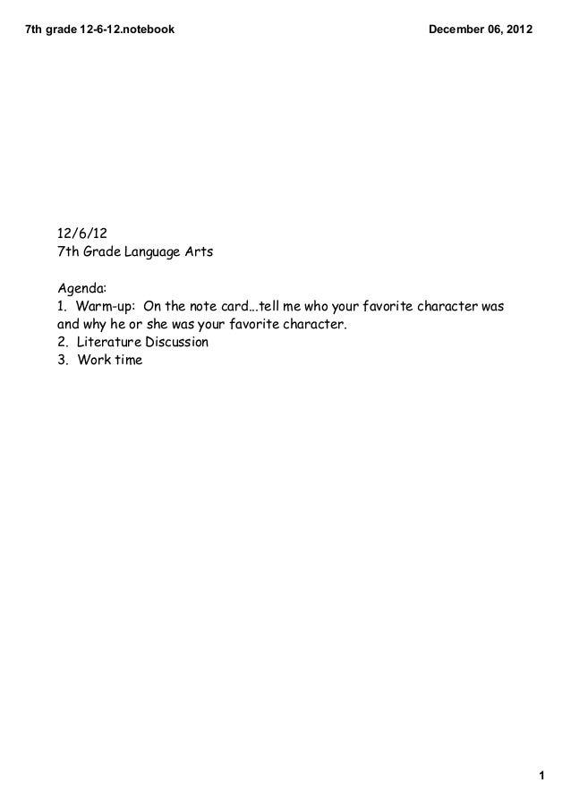 7thgrade12612.notebook                                     December06,2012     12/6/12     7th Grade Language Arts  ...