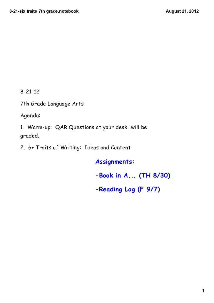 821sixtraits7thgrade.notebook                          August21,2012     8-21-12     7th Grade Language Arts     Ag...