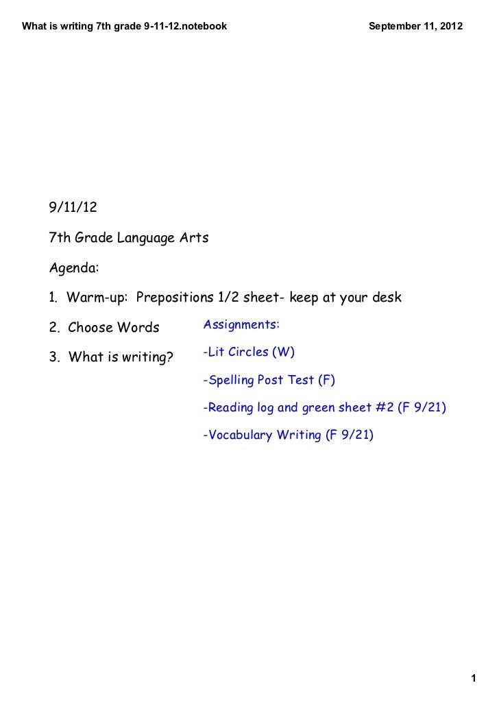 Whatiswriting7thgrade91112.notebook                      September11,2012     9/11/12     7th Grade Language Arts...