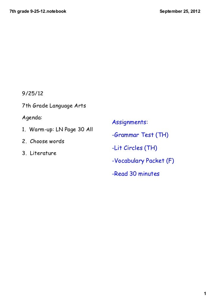 7th grade 9­25­12.notebook                            September 25, 2012     9/25/12     7th Grade Language Arts     Agend...