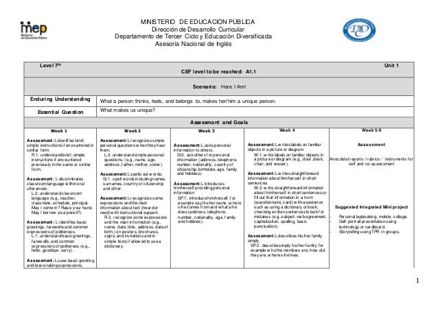 MINISTERIO DE EDUCACIÓN PÚBLICA Dirección de Desarrollo Curricular Departamento de Tercer Ciclo y Educación Diversificada ...
