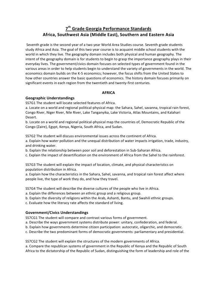 7th Grade Social Studies Georgia Performance Standards