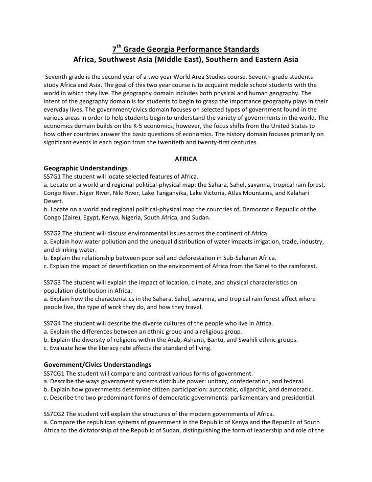 7th Grade Social Studies Georgia Performance Standards – 7th Grade History Worksheets
