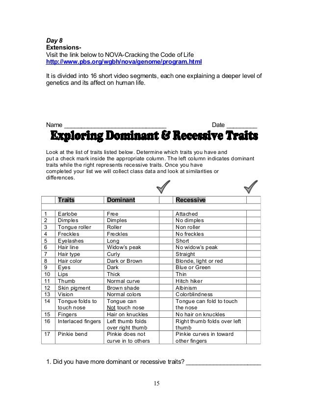 Dominant And Recessive Traits Worksheet. Worksheets ...