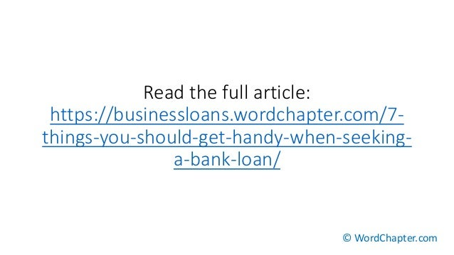 how to get a loan from your bank