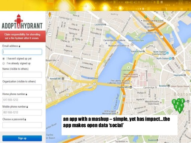 an app with a mashup – simple, yet has impact…the app makes open data 'social'