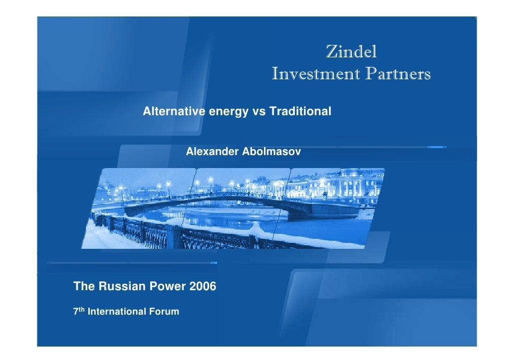 Zindel                                         Investment Partners               Alternative energy vs Traditional        ...