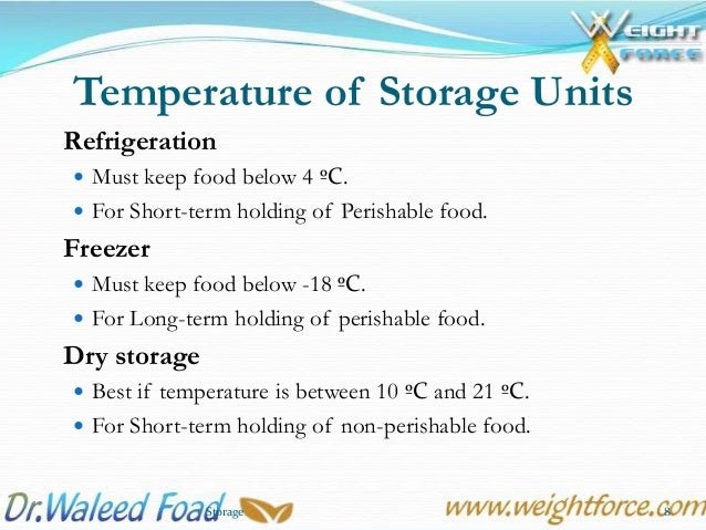 Temperature For Food Being Stored In Hot