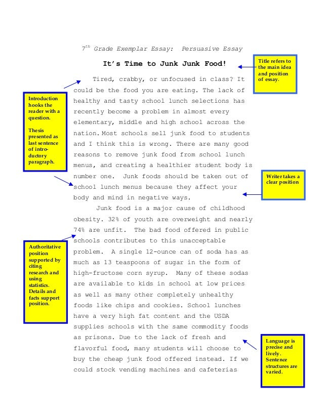 junk food essay co 7th persuasive essay junk food