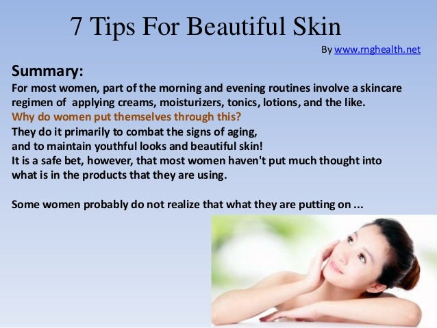 7 Tips For Beautiful Skin By Rnghealth Summary Most Women