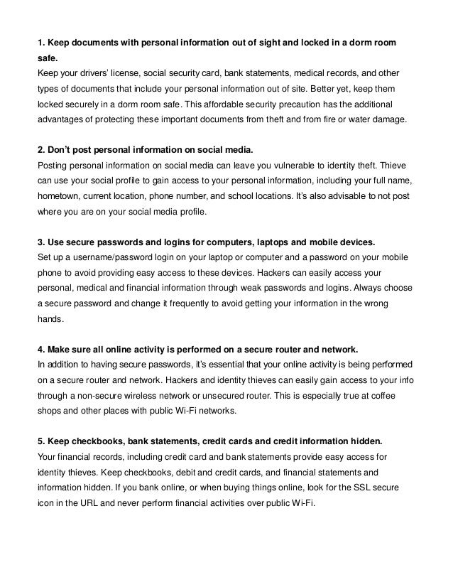 7 Tips for College Students to Prevent Identity Theft Slide 2