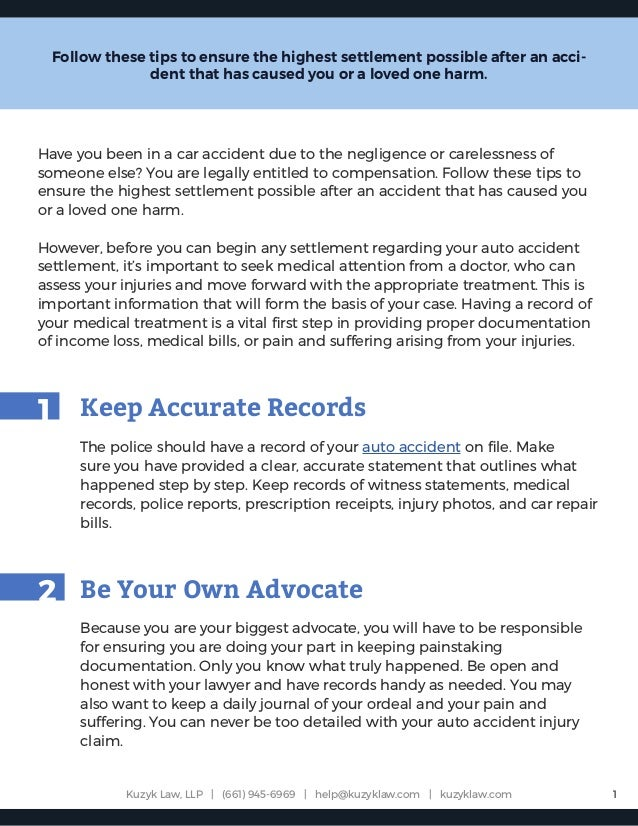 7 Tips For Getting the Most Out of Your Auto Accident Settlement
