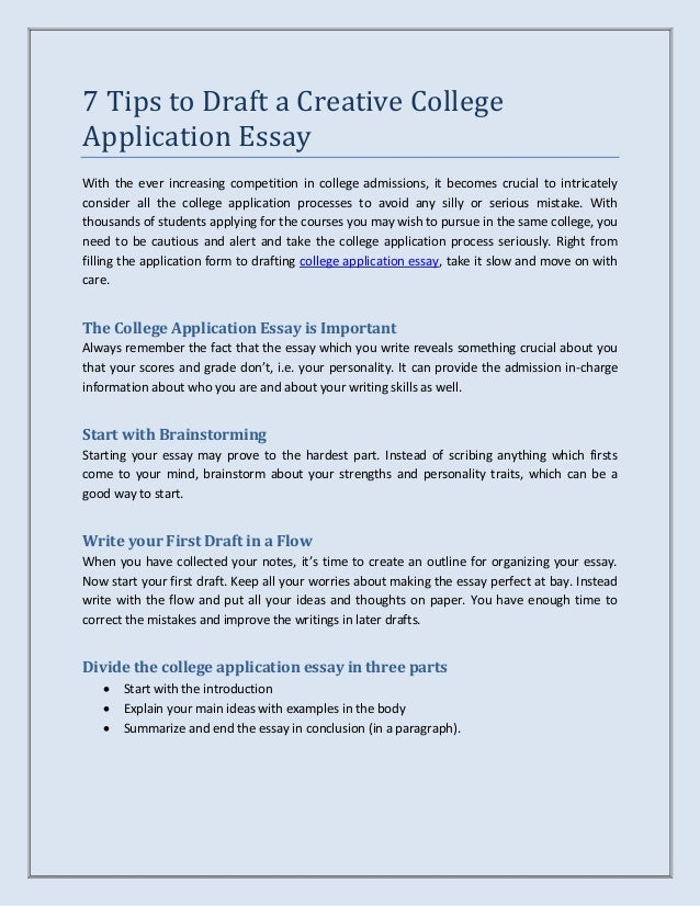 TipsToDraftACreativeCollegeApplicationEssayJpgCb