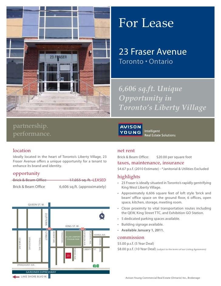 For Lease                                                                            23 Fraser Avenue                     ...