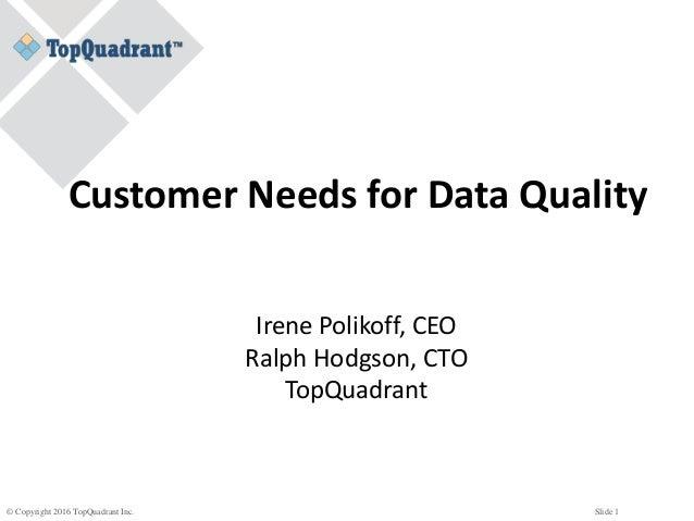 © Copyright 2016 TopQuadrant Inc. Slide 1 Customer Needs for Data Quality Irene Polikoff, CEO Ralph Hodgson, CTO TopQuadra...