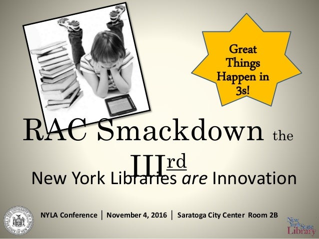 RAC Smackdown the IIIrd New York Libraries are Innovation NYLA Conference │ November 4, 2016 │ Saratoga City Center Room 2...