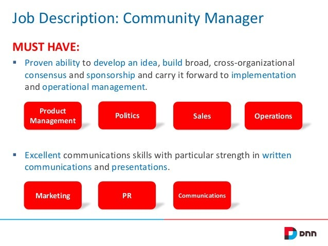 Job Description: Community Manager MUST