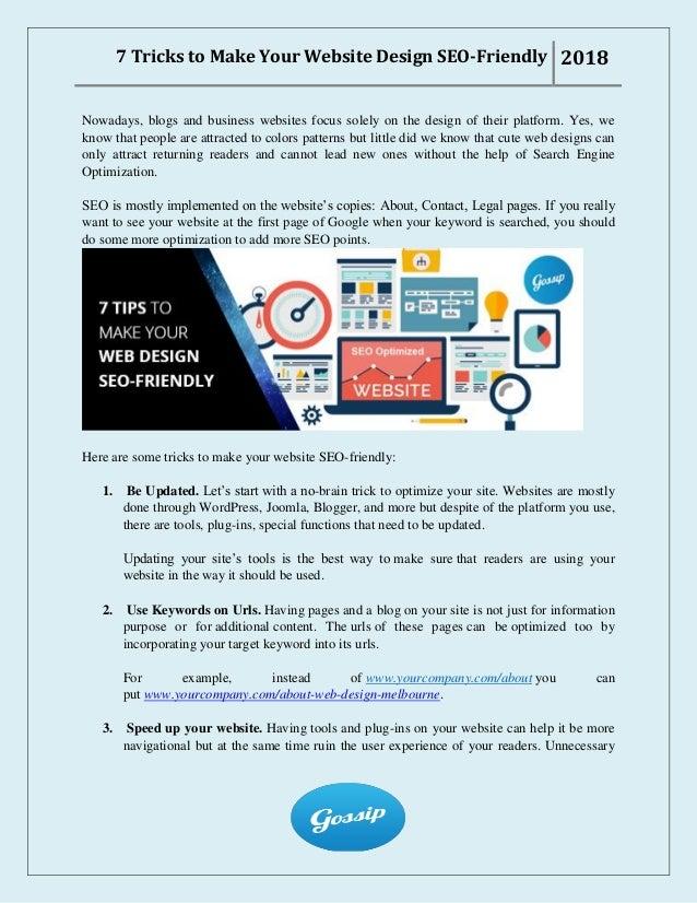 7 Tricks To Make Your Website Design Seo Friendly
