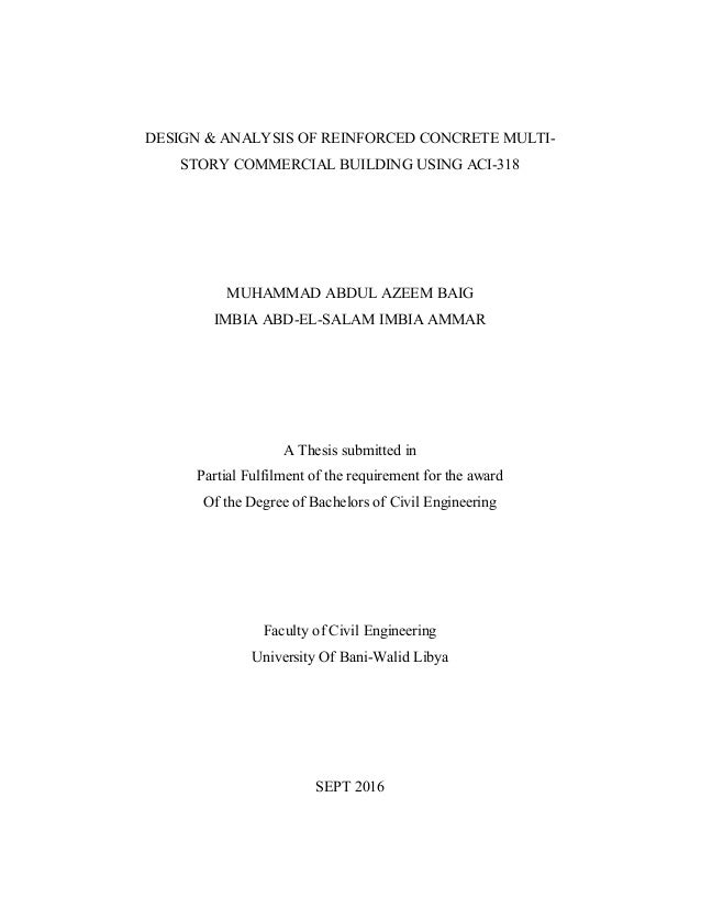 DESIGN & ANALYSIS OF REINFORCED CONCRETE MULTI- STORY COMMERCIAL BUILDING USING ACI-318 MUHAMMAD ABDUL AZEEM BAIG IMBIA AB...