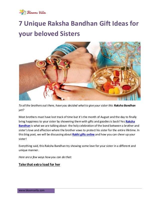 wwwbloomsvillacom 7 unique raksha bandhan gift ideas for your beloved sisters to